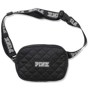 VS Pink Quilted Black Belt Bag Fanny Pack